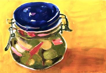 Peinture d'un bocal de cornichons.