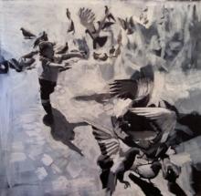 Enfant aux pigeons - 2011, 110/110cm