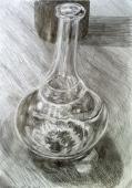 dessin des reflets d'une carafe espagnole en verre emplie d'eau.