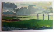 Baie de Somme, nuages, mer, détrempe, vert,