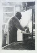 Léon Zack dessiné à la mine de plomb sur papier à dessin.