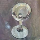 peinture d'une coupe en verre remplie à moitié d'eau