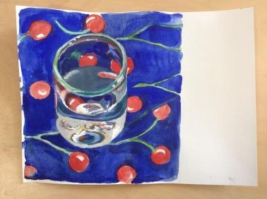 sous le cerisier verre soufflé par Mme Alzano tissus de Paule marrot